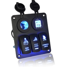 Marine/Boat Car Switch Panel 3 Gang with Cigarette Socket and Dual USB Slot Blue LED light On/Off Rocker Switch(China)