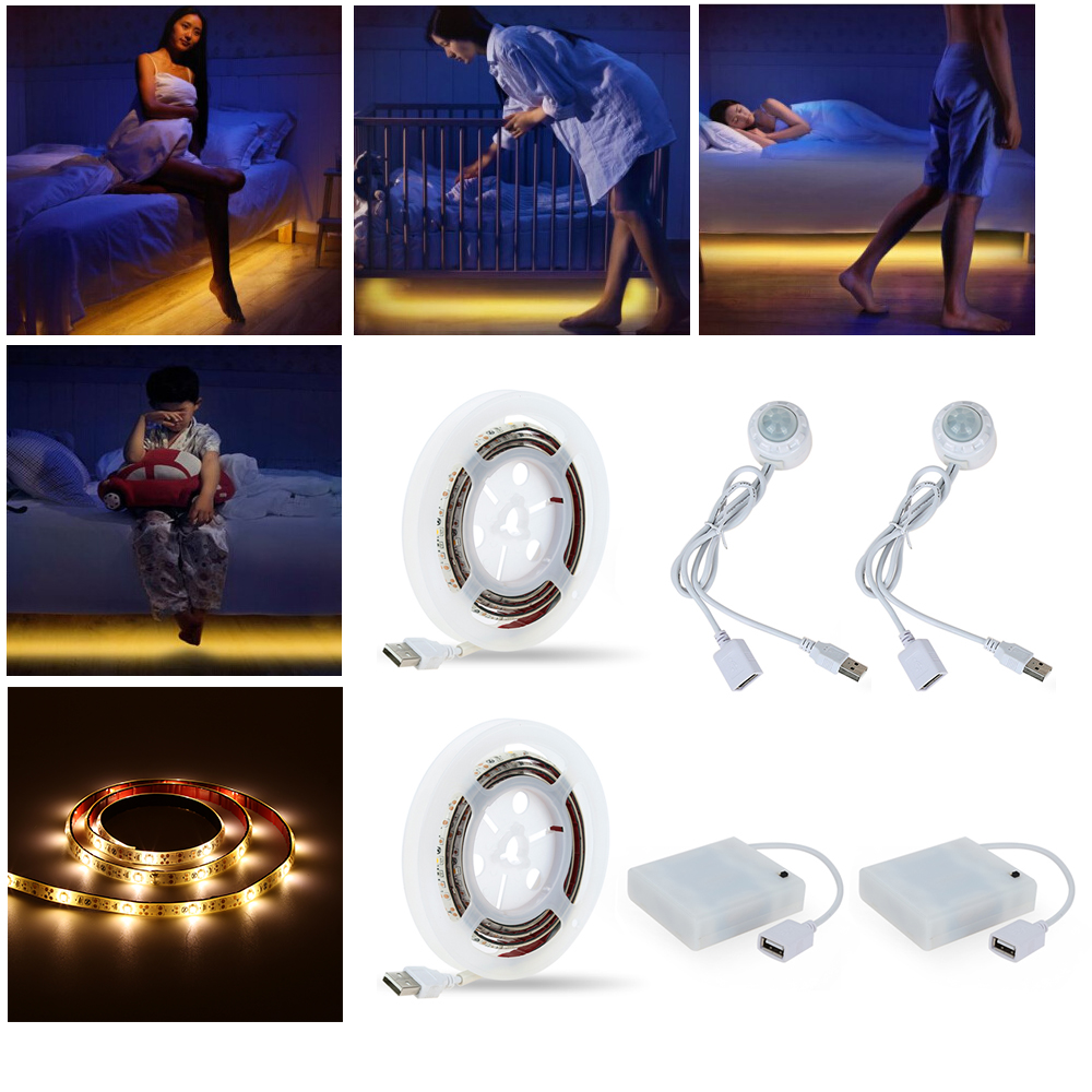 2 Sets 1.2M USB Led Strip Smart PIR Sensor Motion Light Bulb USB 4 AA Battery Powered LED Night Light Bedroom Xmas Light String<br>