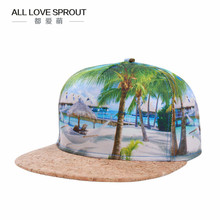 2017 spring and summer high-definition 3D thermal transfer coconut palm digital men  baseball hat PU leather stitching  ALL-01