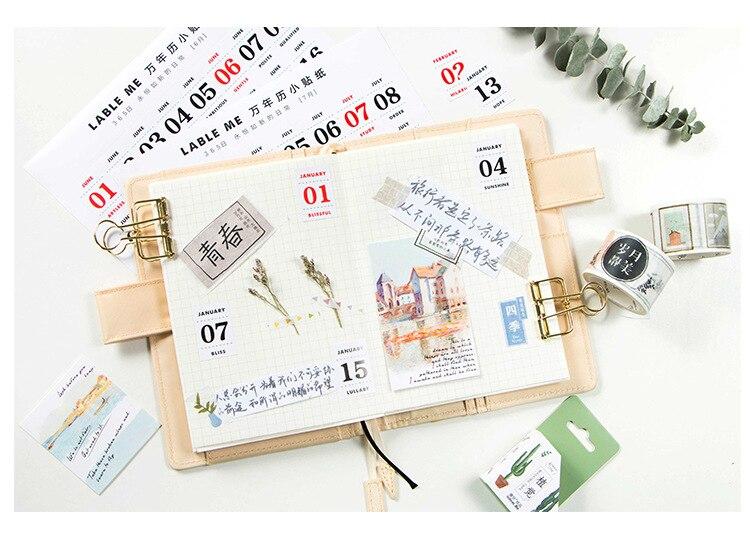 12 Sheetslot Creative Perpetual Calendar Stickers Diary Album