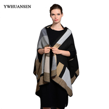 YWHUANSEN Brand New Plaid Women Pashmina Warm Scarf Female Winter Multifunctional Scarf For Lady Ponchos et Capes Designer Coat(China)