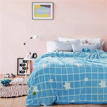 Blue Plaid Comfortable Fleece Blanket White Stars Printed Design for Children and Adults Soft Blanket for Sofa/bed/chair(China)