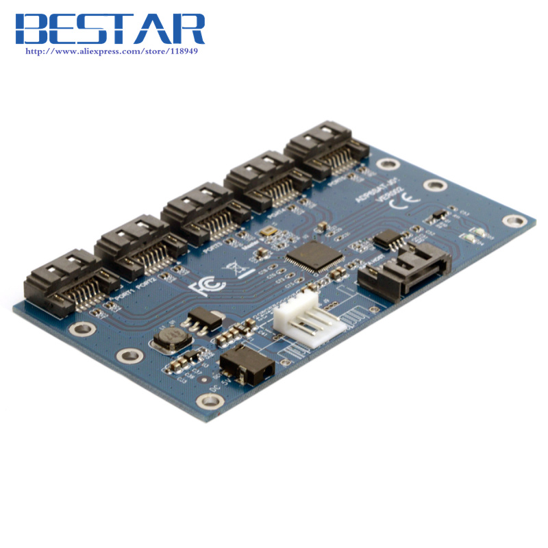SATA 1 to 5 Hub PM Router Port Multiplier Riser Card Splitter Storage Adapter JMB321 chipset<br>
