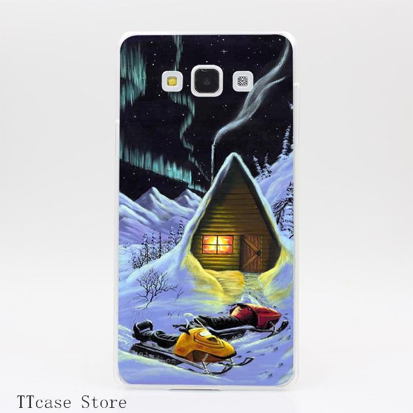 4090CA Winter Wonderland Transparent Hard Cover font b Case b font for Galaxy A3 A5 A7