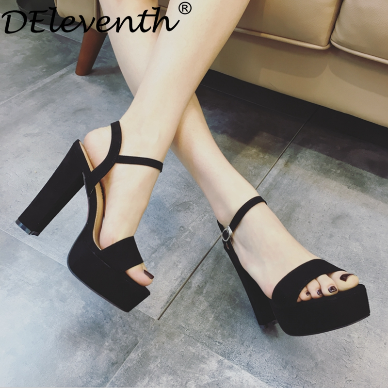 DEleventh Drop Shipping Black Summer Sandals Shoes for Women 2017 New Arrival Thick Heels Sandals Platform Causel Russian Shoes<br><br>Aliexpress