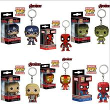 Funko Pop Marvel Keychain Super Heroes Captain America Spiderman Batman Iron Man Thor Llavero Deadpool Harry Potter Keychain Toy
