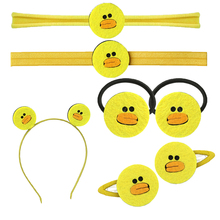 1 PC Cute Duck Hair Clips Little Girls Hairpin Boutique Headbands For Kids Animal Nylon Head Bands Children Non-woven Hair Bows(China)