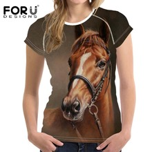 FORUDESIGNS Woman Tops T-shirt 3D Crazy Horse Summer Short Sleeved Casual Shirt For Women Slim Bodybuilding Feminine Clothes(China)