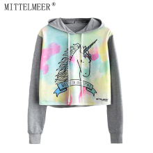 MITTELMEER 2018 bts Harajuku Hooded Sweatshirt Woman girls student Cartoon unicorn cat Animal fruit printing Short Sweatshirt(China)