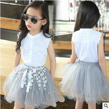 Kids girls Sleeveless  suit  new summer children's cotton casual T-shirt big virgin two pieces skirt girl clothes 2-12 years 0