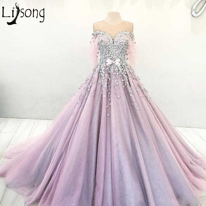 e0e73ac21227 Romantic Dubai Princess Engagement Dress Sheer Jewel Neck Bow Beaded Lace  Applique Evening Dress Ball Gown