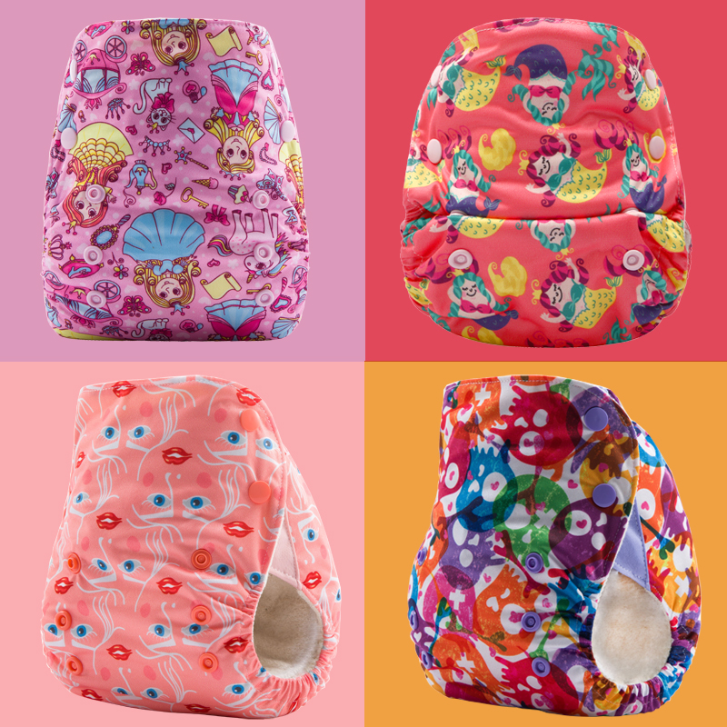 4PCS JinoBaby Cloth Diapers Baby Bamboo Couche Lavable