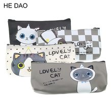 Kawaii cat school pencil bags cute silicone waterproof pencil case for girls kids gift Korean stationery office school supplies(China)