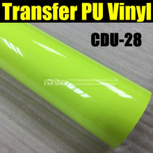 CDU-28 Fluorescent green transfer PU VINYL for vinyl cutter plotter with size: 50X100CM(1 Yard) BY FREE SHIPPING
