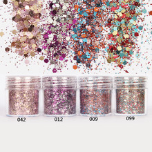 1 Box Glitter Powder Tips Pink Rose Red Colorful Ultra-thin & 1mm Mixed Powder Nail Decoration