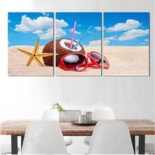 Hot Sell Summer Sea Beach Modern Wall Painting Coconut Sea Star Glasses Wall Pictures Blue Sky Sand Modular Canvas Paintings