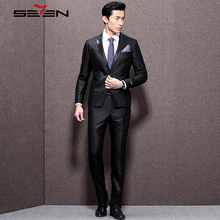 Seven7 Brand Fashion Men Dress Suits 2 Pieces(Jacket an Pants) Loose Size Wedding Suits Single Button Black Suits Sets 703C1232
