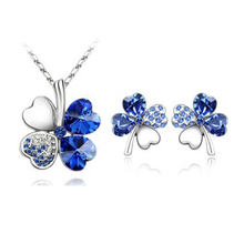 2016 new temperament ladies rhinestone individuality HOT Austrian crystal jewelry Clover two sets of necklace + earring
