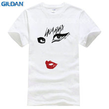 2017 Rushed Promotion Fashion Cotton Tee4u T Shirt Websites Lady Gaga Just Eyes Lips Short Sleeve Printed O-neck Tee For Men