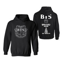 MULYEN Black Gray Kpop BTS Hooded Hoodies Full Name Print Winter Men Women Unisex Bangtan Boys Brand Clothing Plain Coats