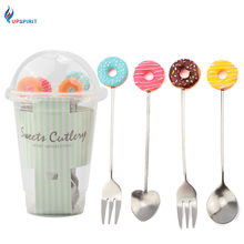 Upspirit 4 PCS Sweet Dessert Stainless Steel Fork Spoon Set With Resin Doughnut/Lollipop For Child Cutlery Set Coffee Shop Tools