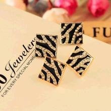 Zebra Square Modern Crystal Golden Girls Stud Earrings for Women Fashion Piecing Jewelry