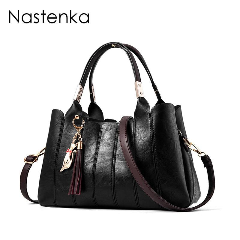 Nastenka Ladies Luxury Handbags Women Bags Designer High Quality Shoulder Bag Women Vintage Leather Handbag Tote bag Sac Femme <br>