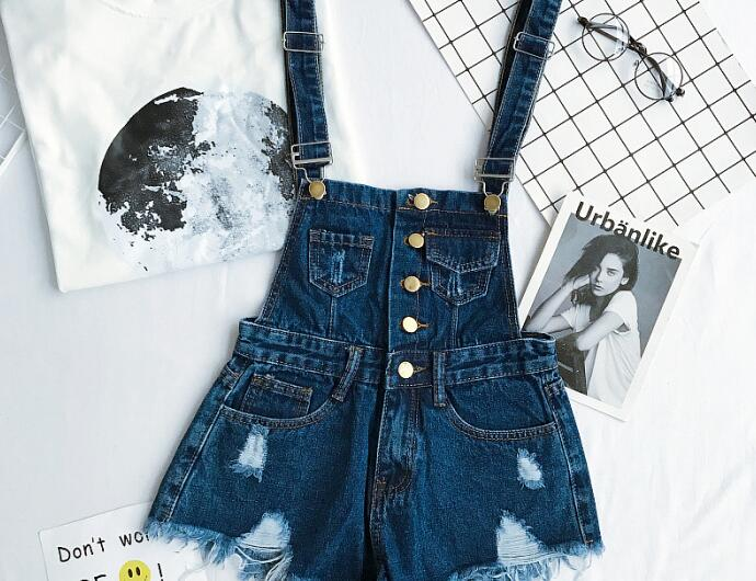 New Collection Summer Korean Loose Women Denim Jumpsuit High-waisted Ripped Hole Wavy Edge Jumpsuit Fashionable Suspenders Pants7