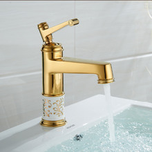 2017 Wholesale New Exclusive Patent Design Luxurious Golden Single Lever Monoblock Bathroom Basin Faucet(China)