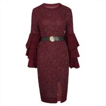 Buy Young17 Autumn Dress Women Red Green Knitted Pullover Falbala Patchwork Flare Sleeve Plain Mid-Calf Sexy Dress Bodycon Dress for $25.37 in AliExpress store
