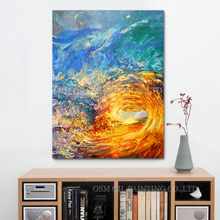 Professional Painter Team Supply High Quality Abstract Wave Oil Painting on Canvas Colorful Wave Oil Picture for Wall Artwork