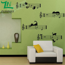 K004 Cute cartoon cat and Staff note combination Musical Wall Stickers Children room wall stickers music bedroom decor