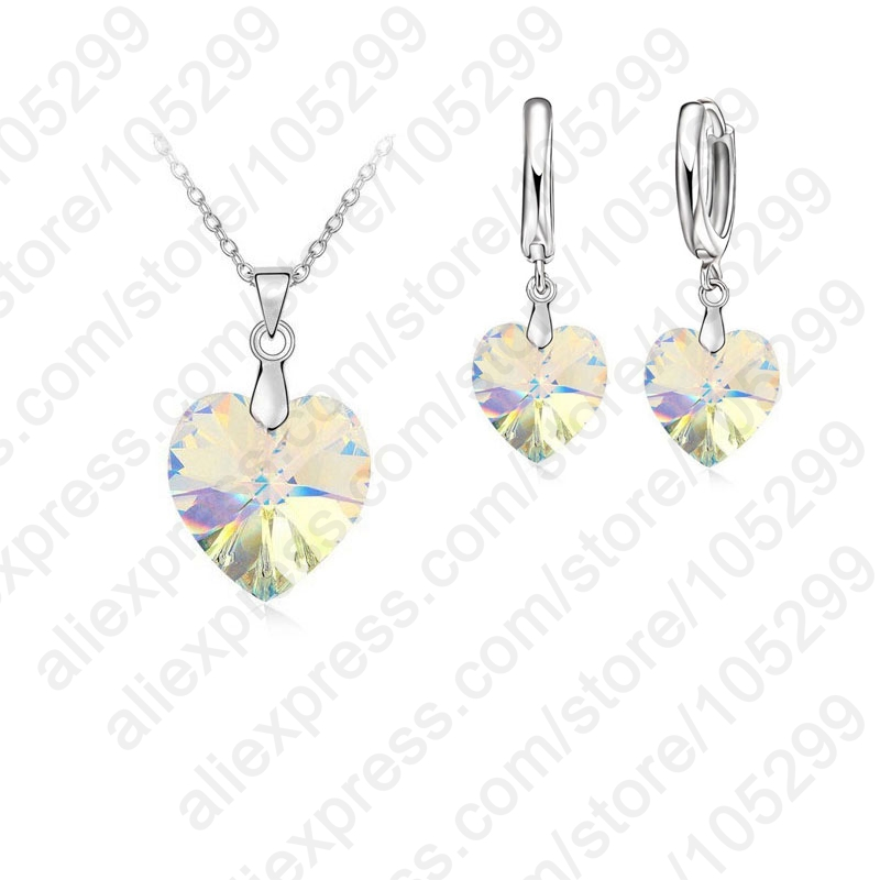 One-Set-Austrian-Crystal-925-Sterling-Silver-Jewelry-Heart-Pendant-Necklaces-Lever-Back-Earrings-Woman-Accessories (2)