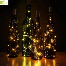Kingoffer 5Pcs 2m 20leds Bright Wine Bottle Lamp 9 Color Battery Cork Shaped LED Light For Party Christmas Wedding Decoretion(China)