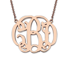 Personalized Rose Gold Color Celebrity Monogram Necklace Customized Nameplate Monogrammed Initial Necklace Bridesmaids Gift
