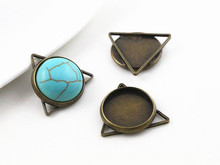 16pcs 12mm Inner Size Bronze Plated Brass Material Simple Style Cabochon Base Cameo Setting Charms Pendant Tray (A5-40)