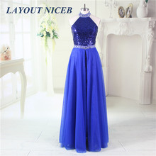Fashion Sequined 2017 Evening Dresses Chiffon Removable Skirt Prom Dresses Royal Blue Robe De Soiree Formal Vestido Formal Dres