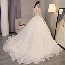 Long Train Ivory Beading Ball Gown Wedding Dress Tulls Long Floor-Length Backless 2017 Real Picture(China)