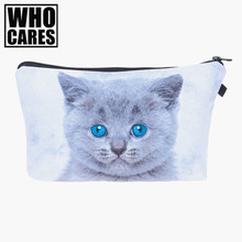 Gray blue eyes cat Cosmetic Bags 3D Printing Travel Makeup bag Small bags Gift trousse de maquillage make up bag pencil case(China)