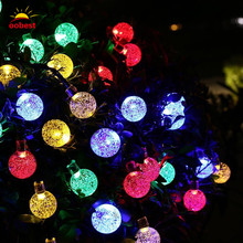 Oobest IP65 30LEDs Crystal Ball Solar Powered night light Fairy Lights for Outdoor Garden Christmas Decoration(China)