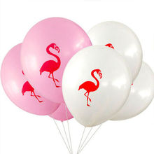 "Balloons 100 10"" Flamingo Latex Pink Blaoes Cartoon Print White Wedding Baloons Summer Party Decor Kids Cheap Toys(China)"
