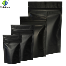 High Quality 100pcs Heat Seal Zip Lock Package Bags Aluminum Foil Mylar Tear Notch Matte Black Stand Up Bag Wholesale(China)
