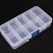 1Pcs New 10 slot Plastic Storage Boxes Mini Organizer for Jewelry Adjustable Jewelry Box Home Using Free Shipping