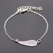 Bijoux New 2016 Love Vintage Silver Plated Wing Bracelet Bangle For Women Charm Jewelry Girl Gift One Direction Wholesale L182