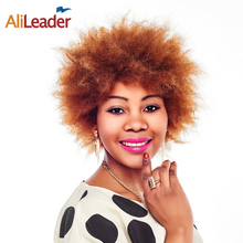AliLeader Products Fluffy #1B #2 #4 Blonde Brown Afro Wig Women, 6 Inch African American Natural Hair Short Wigs For Older Women(China)