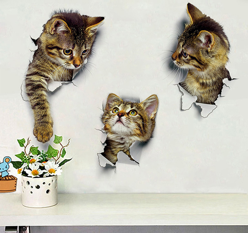 Hole View Cat 3D Wall Sticker Hole View Cat 3D Wall Sticker HTB1 lDtd7omBKNjSZFqq6xtqVXai