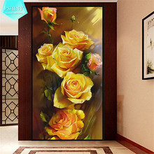 PSHINY 5D DIY Diamond embroidery yellow rose pictures Full Mosaic Kit round rhinestone Flowers diamond painting cross stich