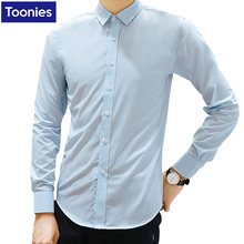 For Men's New Casual Top Blouses Shirts Men Long Sleeved Slim Solid Color Korean Casual Fashion Male Slim Blouse Top Man Shirts