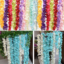 200cm long artificial Hydrangea flower for wedding arch flowers rattan marrige party Christmas home Garlands Decoration Floral(China)