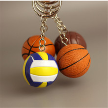 20pcs/lot New PVC Mini Basketball Keychains Plastic Volleyball Keyrings for Gifts(China)